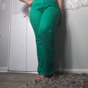 Diane Gilman Green & Gold Jeans Pants
